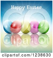Clipart Of A Happy Easter Greeting Over Colorful Eggs And Blue Sunshine Royalty Free Vector Illustration