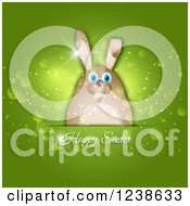 Clipart Of A Green Background With Happy Easter Text And A Bunny Royalty Free Vector Illustration