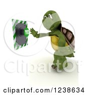 Clipart Of A 3d Tortoise Reaching To Push A Yes Button Royalty Free Illustration