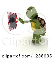 Clipart Of A 3d Tortoise Reaching To Push A No Button Royalty Free Illustration
