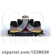 Clipart Of A 3d Red And Yellow F1 Race Car Royalty Free Illustration