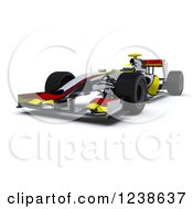 Clipart Of A 3d Red And Yellow F1 Race Car On White Royalty Free Illustration