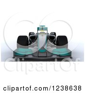 Clipart Of A 3d Turuoise F1 Race Car Royalty Free Illustration