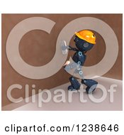 Clipart Of A 3d Blue Android Construction Robot Plastering A Wall Royalty Free Illustration