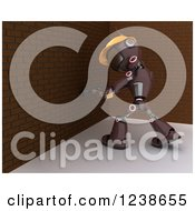 Clipart Of A 3d Red Android Construction Robot Demolishing A Brick Wall Royalty Free Illustration by KJ Pargeter