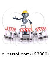 Clipart Of A 3d Blue Android Construction Robot Gesturing Behind Barriers Royalty Free Illustration
