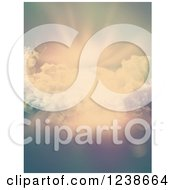 Clipart Of A Background Of Sunrays Clouds And Flares Royalty Free Illustration