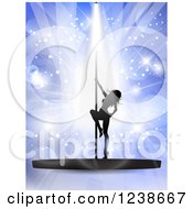 Clipart Of A Silhouetted Sexy Pole Dancer Woman Over Purple Lights And Flares Royalty Free Vector Illustration by KJ Pargeter