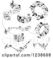 Clipart Of Black And White Music Note Design Elements Royalty Free Vector Illustration