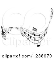 Clipart Of A Black And White Music Note Wave Border Design Element 3 Royalty Free Vector Illustration