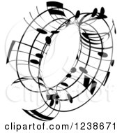 Clipart Of A Black And White Music Note Circle Design Element 3 Royalty Free Vector Illustration