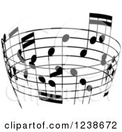 Clipart Of A Black And White Music Note Circle Design Element 2 Royalty Free Vector Illustration