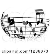 Clipart Of A Black And White Music Note Circle Design Element 4 Royalty Free Vector Illustration