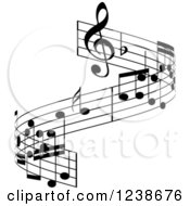 Clipart Of A Black And White Music Note Design Element Royalty Free Vector Illustration