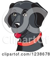 Clipart Of A Woodcut Happy Black Lab Dog With A Red Collar Royalty Free Vector Illustration by David Rey