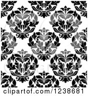 Clipart Of A Seamless Black And White Damask Background Pattern 22 Royalty Free Vector Illustration