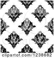 Clipart Of A Seamless Black And White Damask Background Pattern 21 Royalty Free Vector Illustration