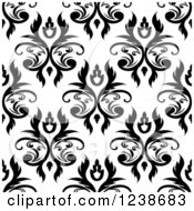 Clipart Of A Seamless Black And White Damask Background Pattern 20 Royalty Free Vector Illustration