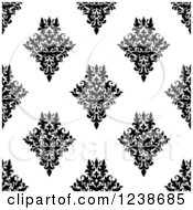 Clipart Of A Seamless Black And White Damask Background Pattern 19 Royalty Free Vector Illustration