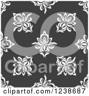Clipart Of A Seamless White And Gray Damask Background Pattern Royalty Free Vector Illustration