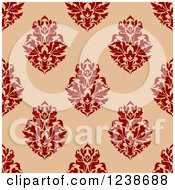 Clipart Of A Seamless Red And Tan Damask Background Pattern 5 Royalty Free Vector Illustration