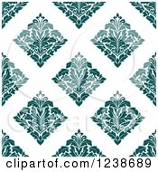 Clipart Of A Seamless Teal Damask Background Pattern Royalty Free Vector Illustration