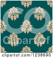 Clipart Of A Seamless Tan And Teal Damask Background Pattern Royalty Free Vector Illustration