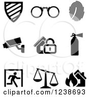 Clipart Of Black And White Surveillance Icons Royalty Free Vector Illustration