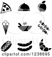 Clipart Of Black And White Food Icons Royalty Free Vector Illustration