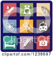 Clipart Of Colorful Square Medical Icons On Blue Royalty Free Vector Illustration