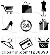 Clipart Of Black And White Shopping Retail Icons Royalty Free Vector Illustration by Vector Tradition SM