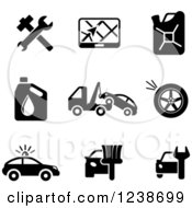 Clipart Of Black And White Transportation And Automotive Icons Royalty Free Vector Illustration by Vector Tradition SM