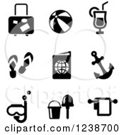 Clipart Of Black And White Travel And Vacation Icons Royalty Free Vector Illustration by Vector Tradition SM