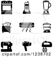Clipart Of Black And White Household And Kitchen Icons Royalty Free Vector Illustration