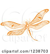 Clipart Of An Orange Dragonfly Royalty Free Vector Illustration by Vector Tradition SM