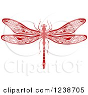 Clipart Of A Red Dragonfly Royalty Free Vector Illustration by Vector Tradition SM