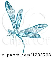 Clipart Of A Blue Dragonfly Royalty Free Vector Illustration by Vector Tradition SM