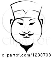 Clipart Of A Black And White Male Asian Chef 4 Royalty Free Vector Illustration