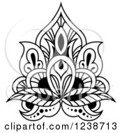Clipart Of A Black And White Henna Lotus Flower 8 Royalty Free Vector Illustration