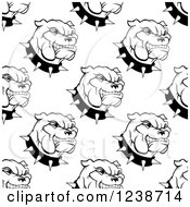 Clipart Of A Seamless Background Pattern Of Black And White Bulldogs And Spiked Collars Royalty Free Vector Illustration