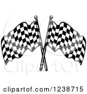 Clipart Of Black And White Crossed Racing Checkered Flags Royalty Free Vector Illustration