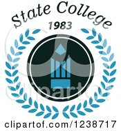 Clipart Of A Pencil With A Wreath And State College 1983 Text Royalty Free Vector Illustration