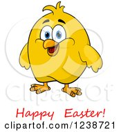 Clipart Of A Chubby Yellow Chick And Happy Easter Text 2 Royalty Free Vector Illustration by Vector Tradition SM