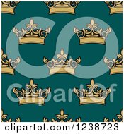 Clipart Of A Seamless Background Pattern Of Gold Crowns On Teal Royalty Free Vector Illustration