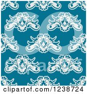 Clipart Of A Seamless Background Pattern Of Floral Hearts Royalty Free Vector Illustration