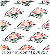 Clipart Of A Seamless Background Pattern Of Sushi And Chopsticks Royalty Free Vector Illustration