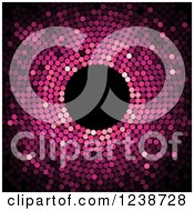 Clipart Of A Pink Dot Mosaic Circle On Black Royalty Free Vector Illustration