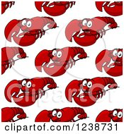 Clipart Of A Seamless Background Pattern Of Happy Red Lobsters Royalty Free Vector Illustration by Vector Tradition SM