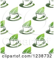 Seamless Background Pattern Of Tea Cups And Leaves