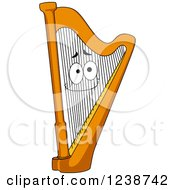 Clipart Of A Happy Harp Royalty Free Vector Illustration